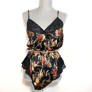 Vintage Myonne Waisted 80's Slip Lingerie Floral